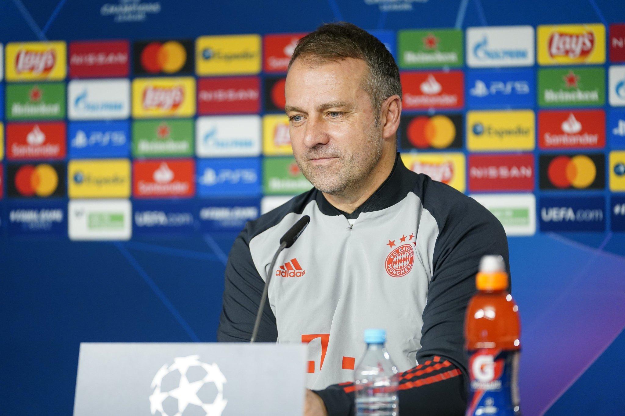 Flick, entrenador del Bayern, en sala de prensa.