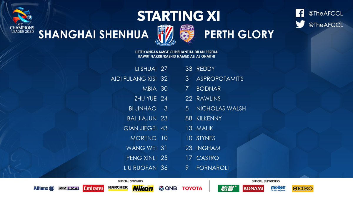 LINE-UPS | 🇨🇳 Shanghai Shenhua 🆚 @PerthGloryFC 🇦🇺   📋 Here are the starting XIs for the 2nd Group F game of the day at Education City Stadium.  📰 #SHEvPER Match Preview:   #ACL2020