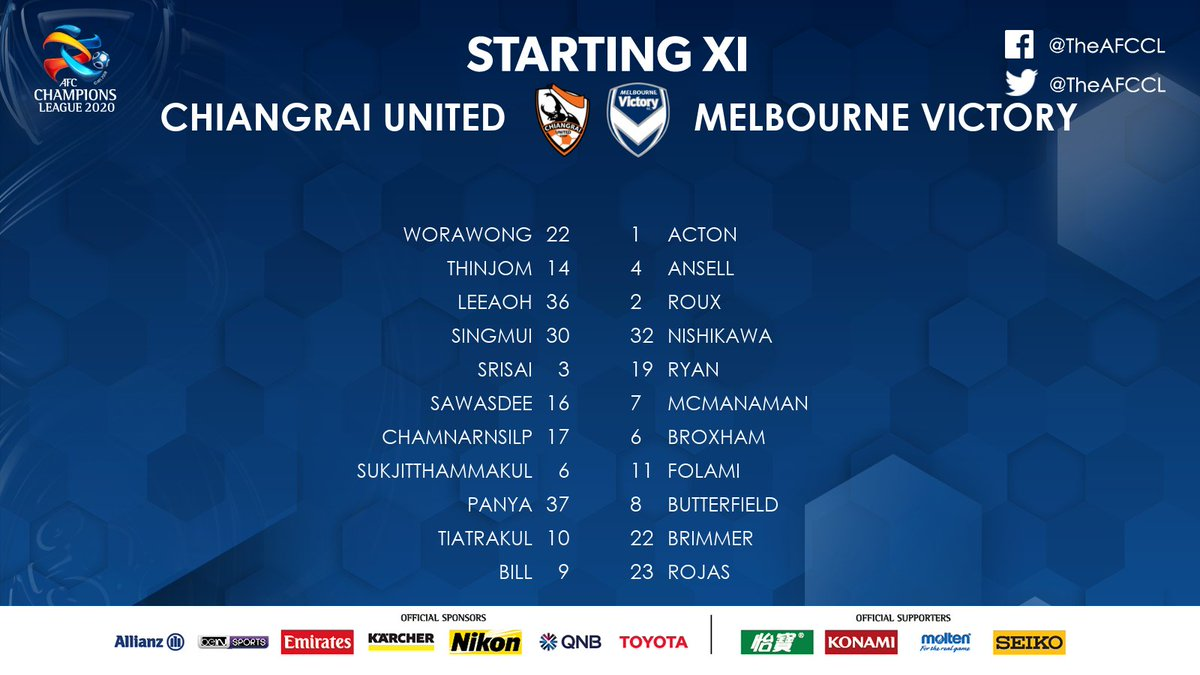LINE-UPS | 🇹🇭 Chiangrai United 🆚 @gomvfc 🇦🇺  📄 The Starting XIs for a crucial match between two sides hoping to keep their Round of 16 hopes alive.  📰 #CRUvMVC Preview:   #ACL2020