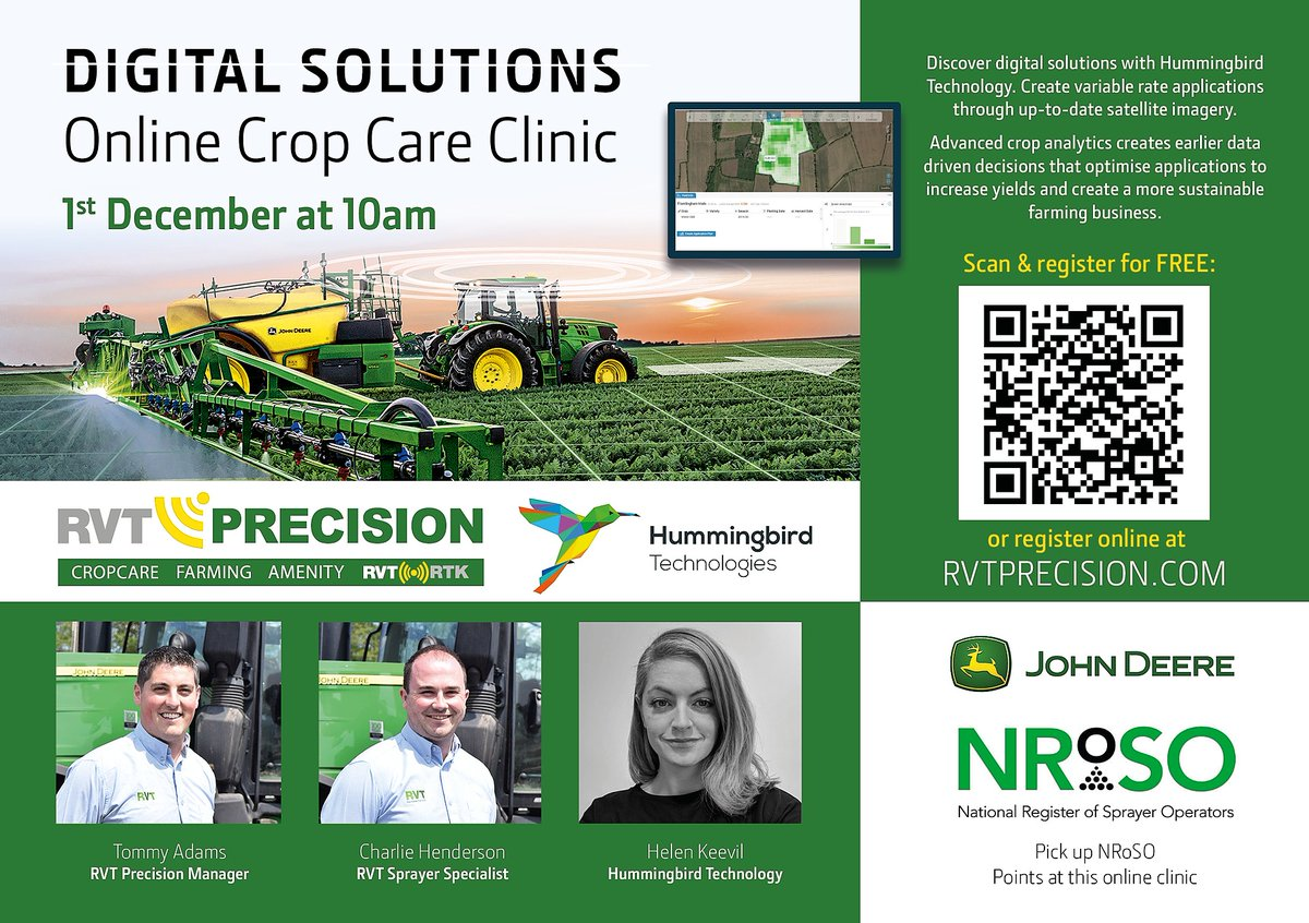 Join us and @RVTprecision tomorrow! Discover digital solutions with Hummingbird Technologies Pick up 2 NRoSO Points at this online clinic.  Advanced crop analytics lead to a more #sustainable #farming business. To register for the event, please go to: https://t.co/0xw0eNMuHS https://t.co/ni2CJaywlS