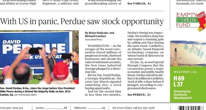 Brutal front page of @SavannahNow about @sendavidperdue's stock trading scandal.  What Savannah, Georgia is reading this morning... https://t.co/10ahgv5dWa