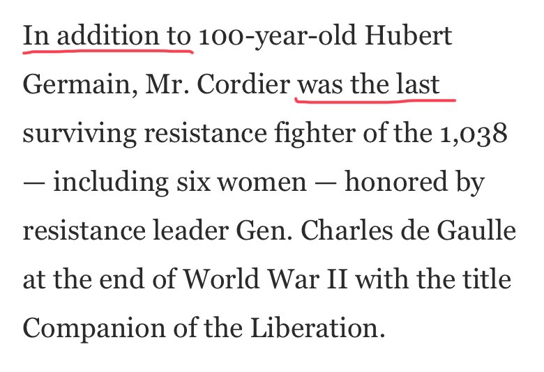 """This would make a good deal more sense, @washingtonpost, if you began the sentence with """"Aside from,"""" or better still, """"Mr. Cordier's death leaves 100-year-old Hubert Germain as the last ..."""" https://t.co/WfsugcY3LA https://t.co/yzWi8WbwhM"""