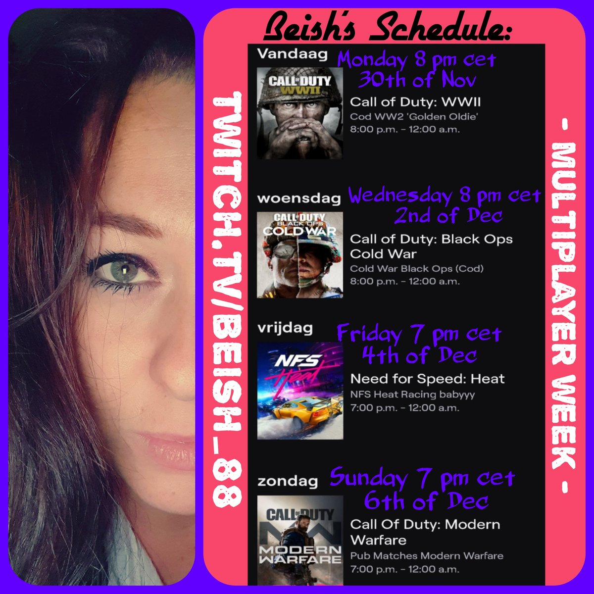My New Schedule This Week: MULTIPLAYER WEEK // JOIN!!! 》 PLAYING with VIEWERS 《 💜💜💜💜💜💜💜💜💜💜💜 🎮 https://t.co/YVvd6Dd1Fa 🎮  #callofduty #needforspeed #codww2 #coldwar #multiplayer  #modernwarfare #twitchlive #schedule #twitchtv #girlgamer #girlstreamer #ps4 #games https://t.co/I3Dvi5Lgpg