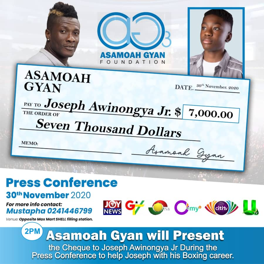 New dawn and new era, The Asamoah Gyan foundation is still helping and changing lives for God and Country...Joseph Awinongya Jr is a great talent worth supporting @AsamoahGyanFou3 @josephawin @AnimSammy @PrinxRandy @BaffourGyan4