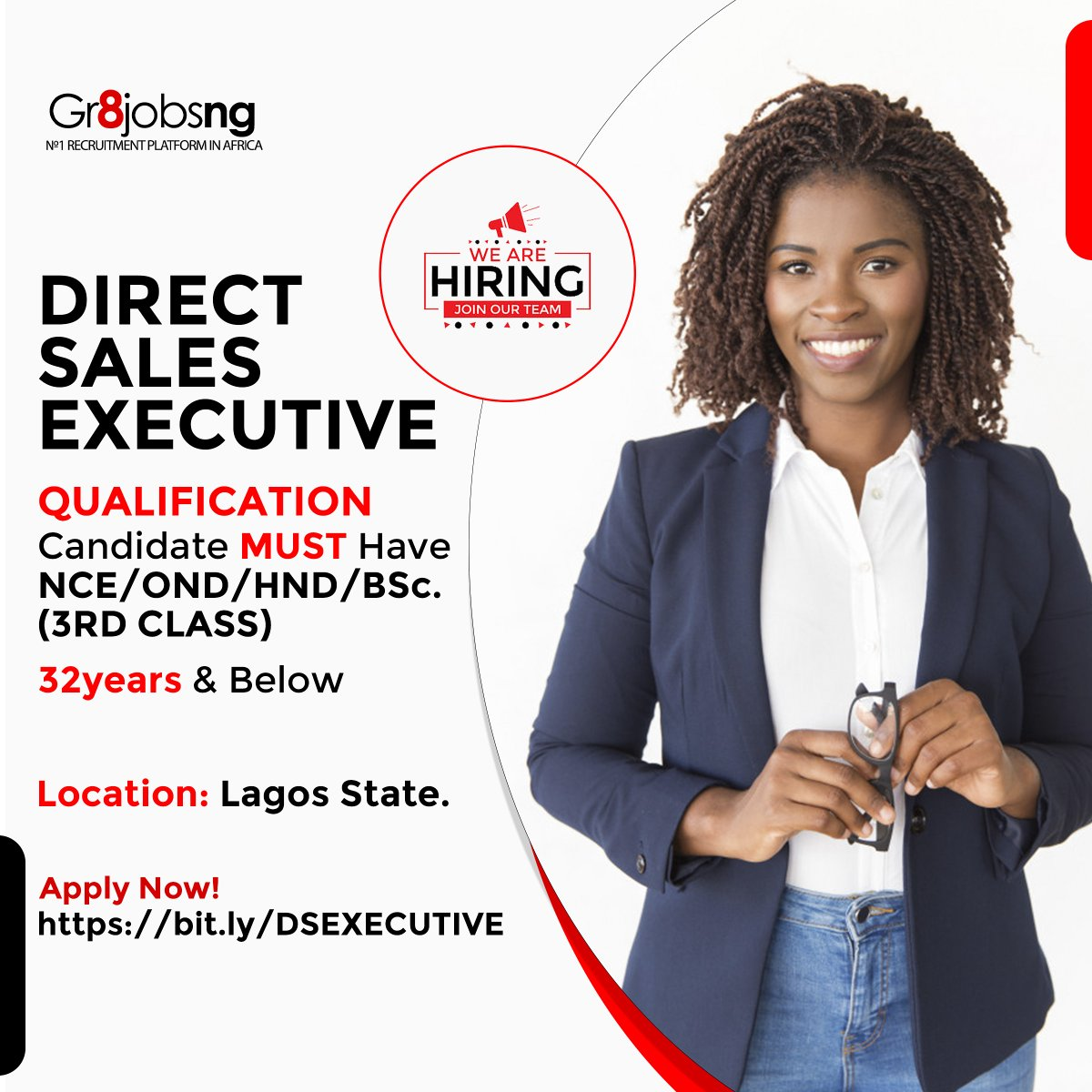 We are recruiting for the role of DIRECT SALES EXECUTIVES  Candidate must have NCE/OND/HND/BACHELOR'S DEGREE (3RD CLASS)  32Years and below  Location: Lagos  Apply Now!  #MondayMotivation #mondaythoughts #gr8jobsng