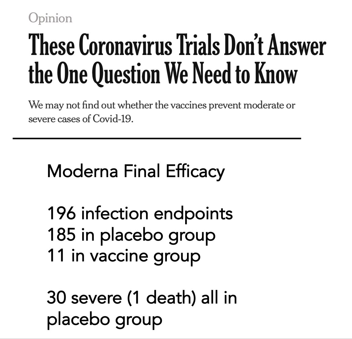 Back in September, we wrote about the need to show severe #COVID19 cases were prevented by a vaccine nytimes.com/2020/09/22/opi… Today we know that. Of @moderna_tx final efficacy all 30 severe cases were in the placebo group.