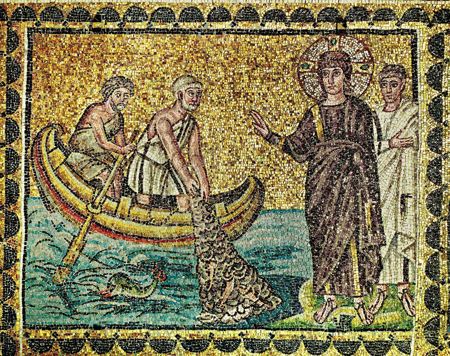 """Digital Maps of the Ancient World on Twitter: """"Byzantine mosaic of Christ  calling the Apostles Andrew and Peter, 6th c. AD. Basilica of Sant'  Apollinare Nuovo, Ravenna. #StAndrewsDay #MedievalMonday #MosaicMonday…  https://t.co/jfUE7xzAti"""""""
