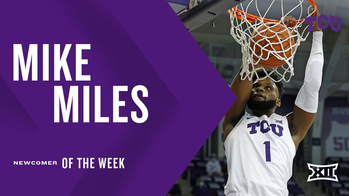 Mike Miles led @TCUBasketball with 1⃣3⃣ points, 5⃣ assists and 3⃣ steals in his collegiate debut. It was the most points scored by a TCU freshman in his debut since 2⃣0⃣1⃣6⃣.   Miles is the #Big12MBB Newcomer of the Week. https://t.co/9yvFu0cRhm