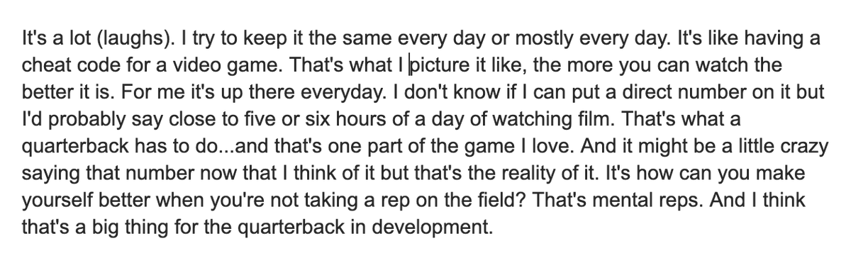 Here's the full quote from #Badgers quarterback Graham Mertz about watching five or six hours of film per day.