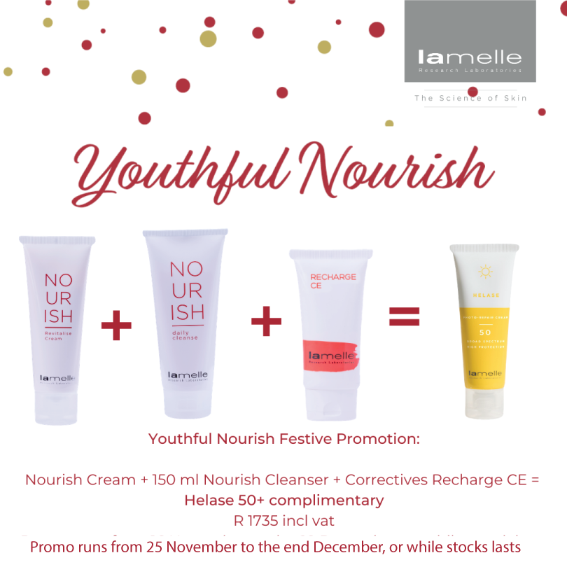 Purchase a Nourish Revitalize Lite, Nourish Daily Cleanser 150ml and Correctives Recharge CE Complex, and receive a Helase Photo-Repair Cream SPF 50 free   #SkinRenewalSA #skin #skincare #Lamelle #festivepromotions #OnlineSkinShop #SkinShop #ClickedOnSkin