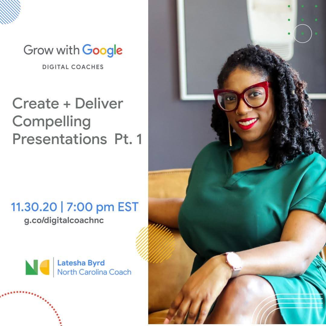 Join me tonight for my last #GrowWithGoogle event for the month. I'll be sharing tips and best practices that I use to create effective presentations and keep my audience engaged.   Secure your seat:    #GrowWithGoogle #NewSkill  #CareerTips #CareerCoach
