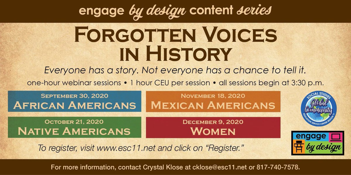 Engage by Design Content Series presents Forgotten Voices in History! Join us on December 9: registration.esc11.net/catalog/search…