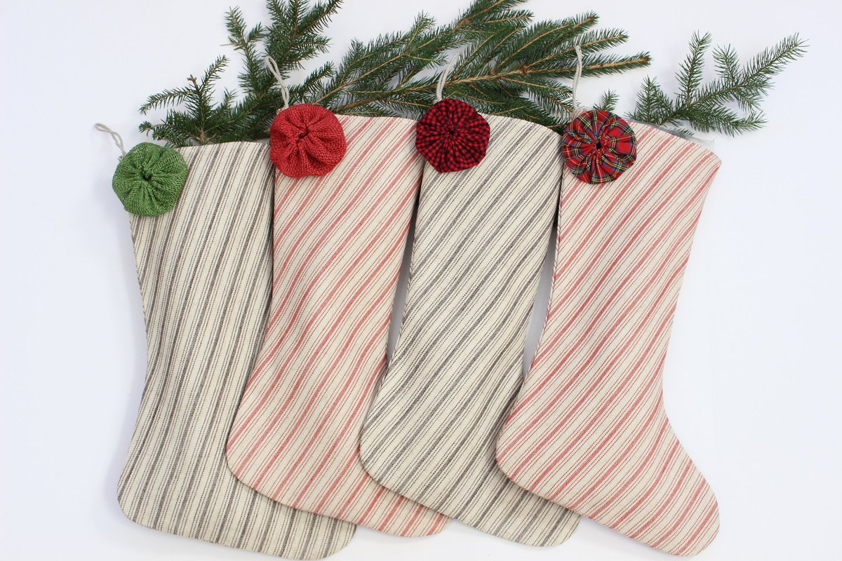 French Country Christmas Ticking Stripe Stockings #farmhousedecor #Christmas #CyberMonday #shopsmall
