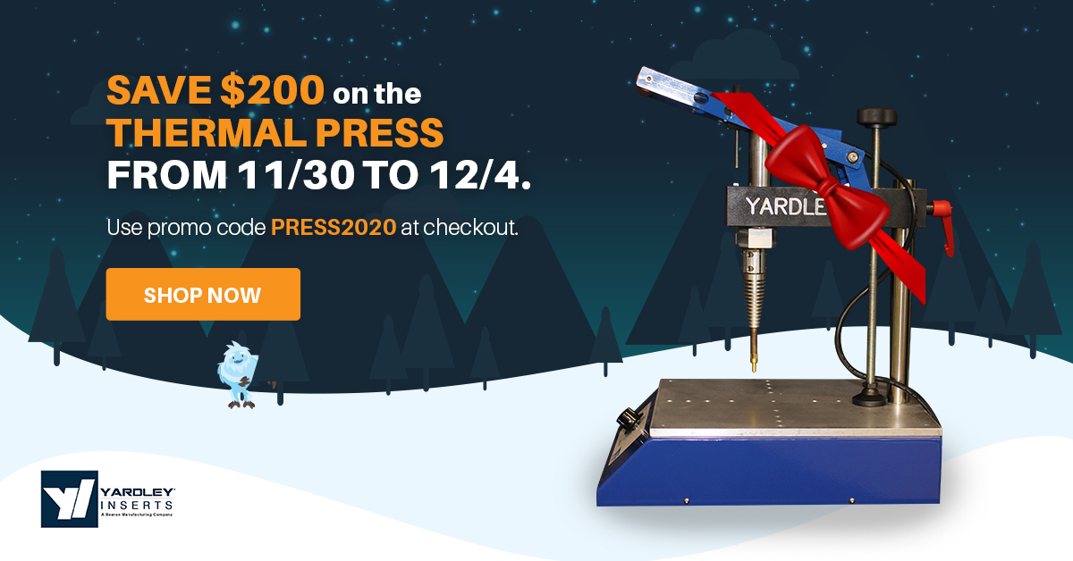 Today's the day to save on the Thermal Inserting Press 2.0! There is a limited quantity in stock so don't wait, receive $200 off your purchase now.  #cybermonday #manufacturing #holidaydiscount