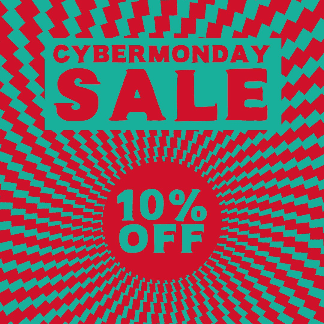 We're shamelessly jumping on the #cybermonday bandwagon. Get 10% off today's orders on our online store using the discount code 'Cyberfunday'.