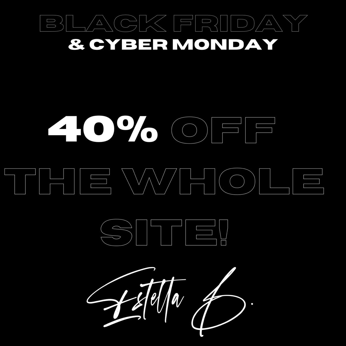 40% off sale ends tonight at midnight! #CyberMonday #SmallBusinesses @shopestellab  🖤