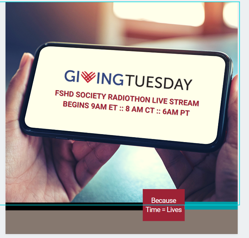 Tomorrow is #GivingTuesday!  We have an amazing lineup for our Facebook Live Radiothon, starting at 8AM CT. Join us on FB tomorrow () and support those living with #FSHD on this global day of giving!  Here's the schedule: