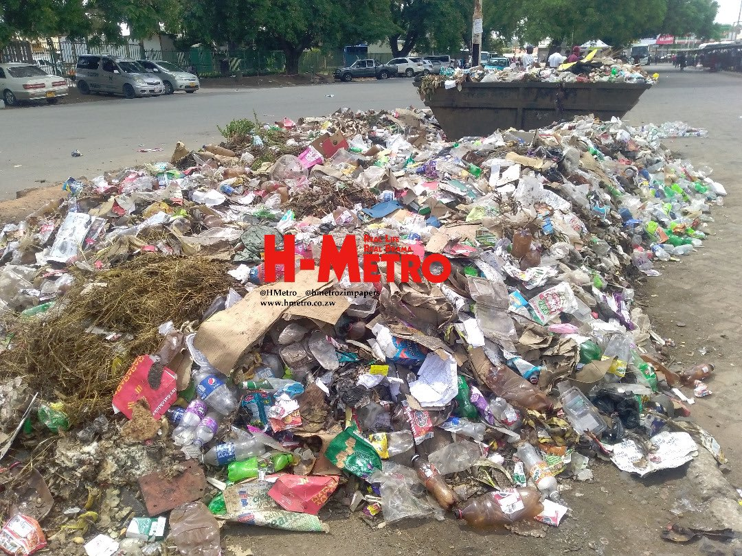 Uncollected garbage at Harare's Simon Vengesai Muzenda Rank (formerly Fourth Street)