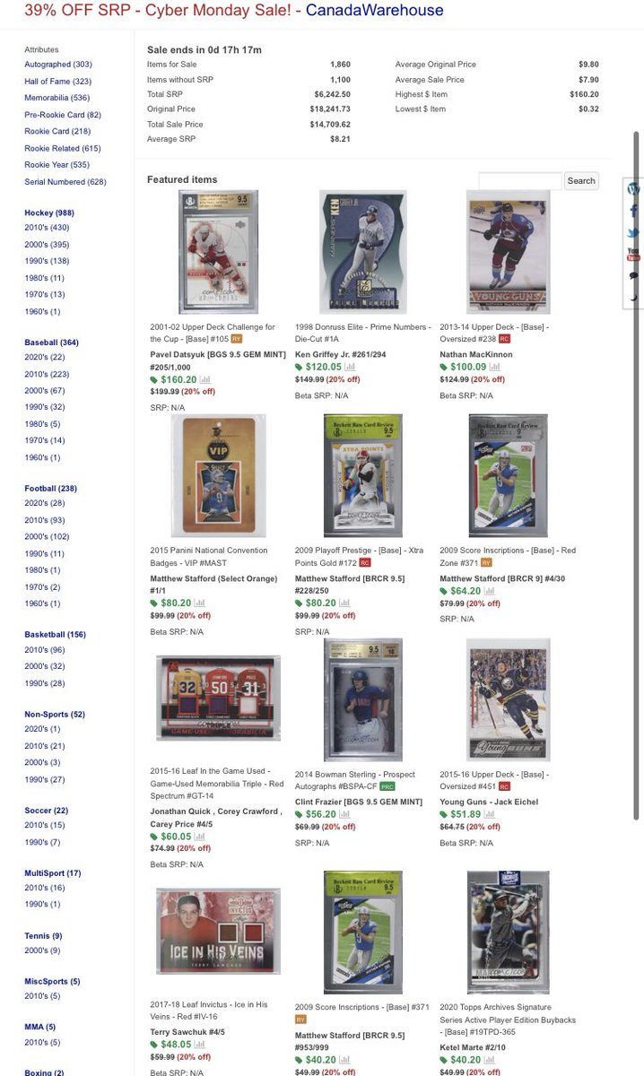 In honour of #CyberMonday on @CheckOutMyCards, I created a sale for my entire port inventory. 20% off every item! Please check out the sale as I have over 1,800+ items available.  #thehobby #sportscards #collect