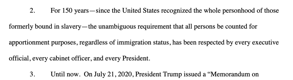 """SCOTUS will hear the outgoing Trump admin's appeal of a unanimous three-judge ruling rejecting its memo attempting to exclude undocumented immigrants from census apportionment.  @NewYorkStateAG pointed to an ugly pedigree of redefining """"persons.""""  Covering live, @LawCrimeNews https://t.co/oi1DJzVZjF"""
