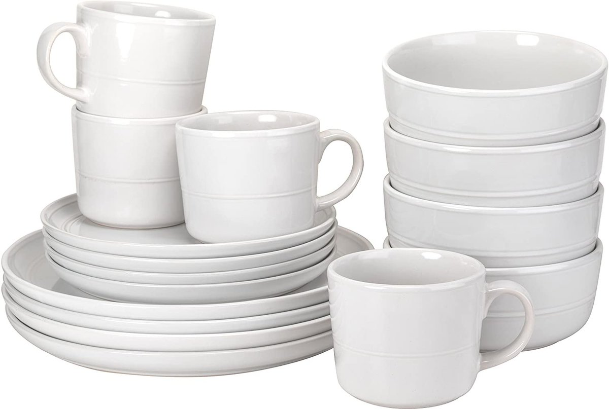 10 Strawberry Street Double Line 16 Piece Dinnerware Set, White  Only $34.99!!  2