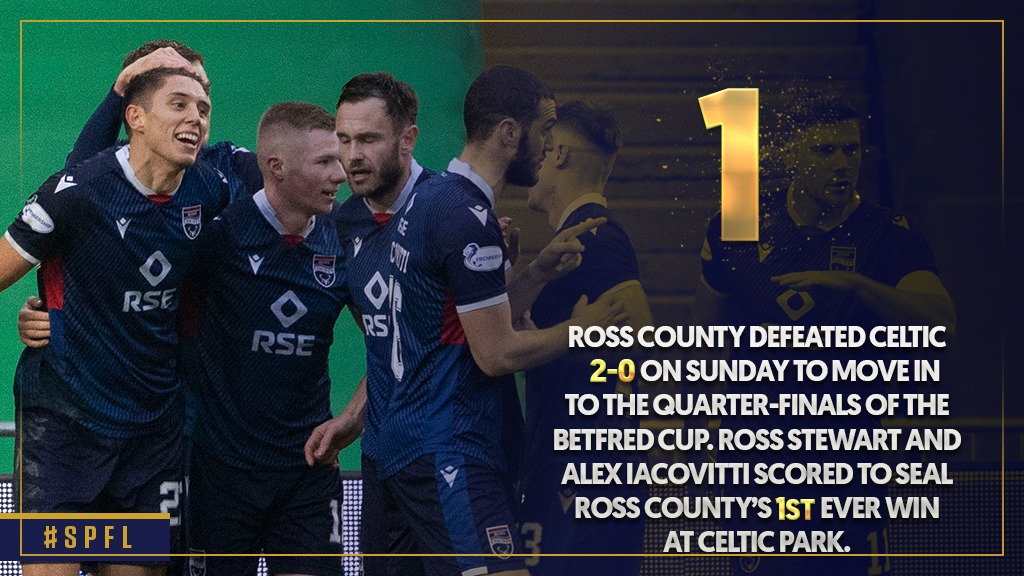 🔢 Ross Stewart and Alex Iacovitti scored the goals to hand the Staggies' their 1⃣st ever victory at Celtic Park – in 1⃣3⃣ previous visits they had lost 🔟 and drawn 3⃣.  Read @SPLstats' Weekend In Numbers 👇 https://t.co/WV5Ymfn7Vx  #SPFL | @RossCounty https://t.co/X0oE0hOFVx