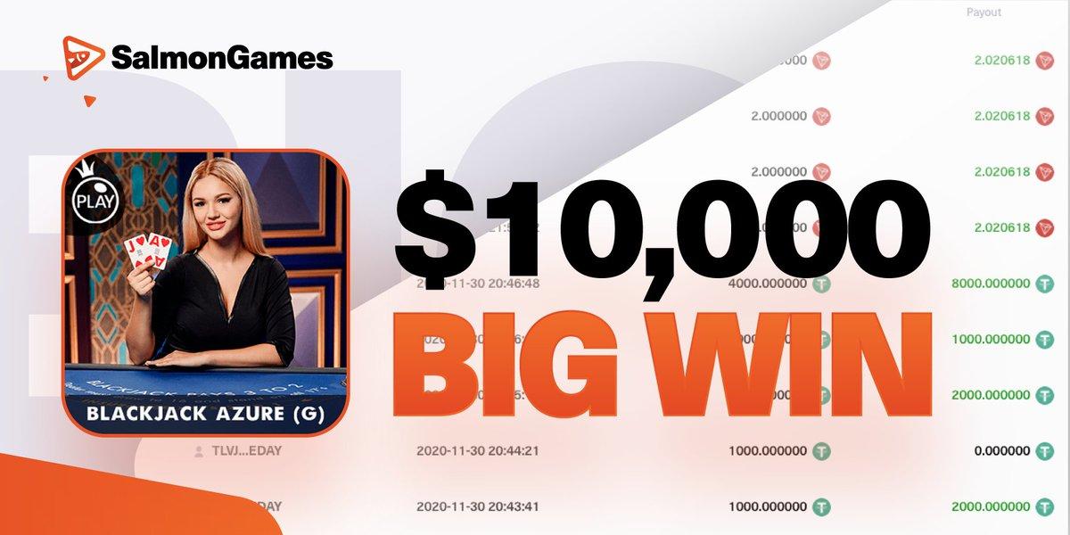 At Salmon.Games you can win BIG! Just like one of our players: 🔥 10,000 USDt won at BlackJack Azure 🔥 salmon.games/game/pragmatic… #BlackJack #Casino #SAN #SalmonGames @justinsuntron @DeFi_JUST @Tronfoundation