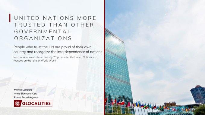 """""""...a majority of the world believes in the @UN's mission & progress through international cooperation. This trust is the way forward to our one common goal: the formation of an equal, just, and #sustainable future for all.""""Ban Ki-moon #UN75   Read Report:"""