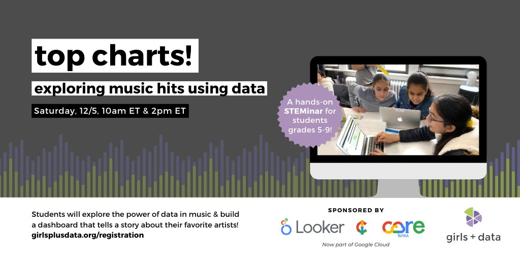 Meet us at the intersect of art, math, tech – & now music!🎶  Students will explore the data📊 behind top songs🎵 & build a dashboard to tell a data story about their favorite artists!🎤  👉 Register at    #dataviz #girlsinSTEM #DataVisualization