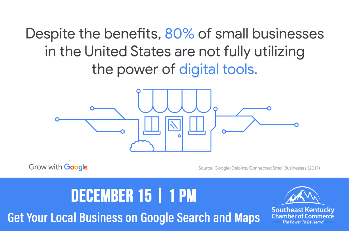 Are you showing up when folks search online for businesses like yours? Join us for a free virtual workshop on Tuesday, December 15th at 1 p.m. to learn how to #GrowWithGoogle and help your business shine online. Learn more and register today:
