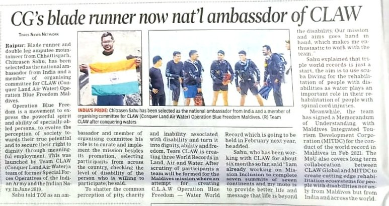 Thankyou so much team @timesofindia for publishing about mission #operationbluefreedom of team @CLAW_Global  #claw #tripleworldrecord https://t.co/DdxT0yhJno