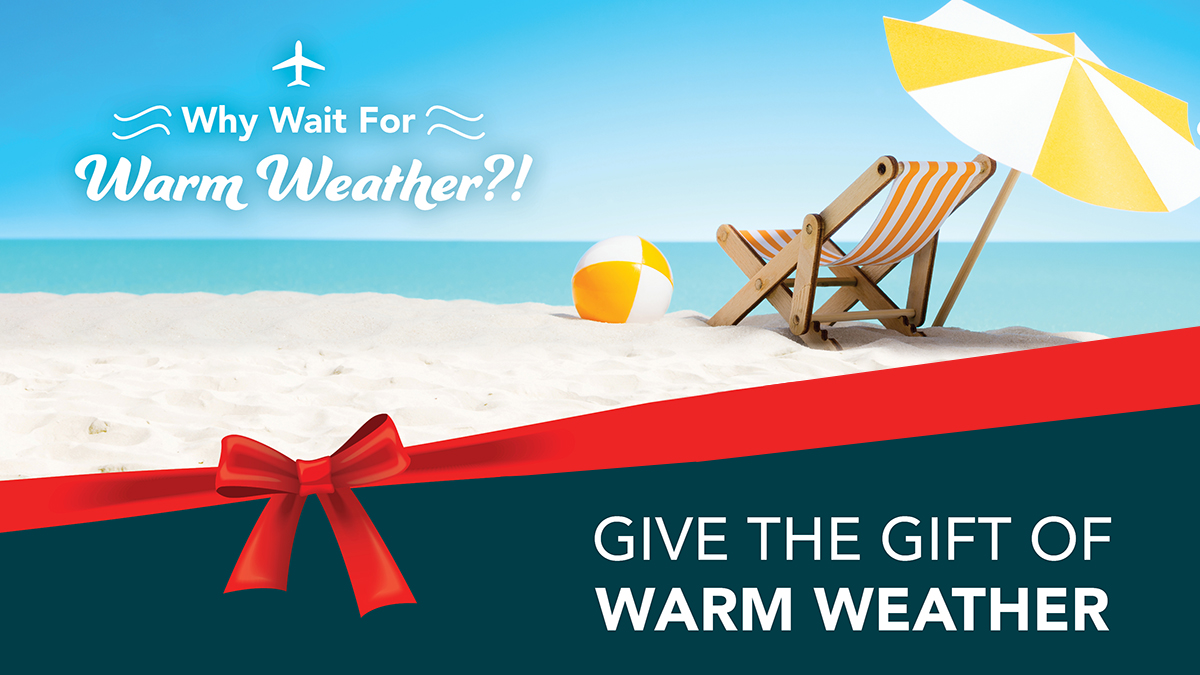 Give the gift of warm weather this holiday season! Book your next trip to Florida, the Caribbean, Central America, or Mexico on Sun Country Airlines, now offering non-stop and easy connection flights to tropical destinations from MSN Airport.  #SunCountryAirlines #MSNAirport