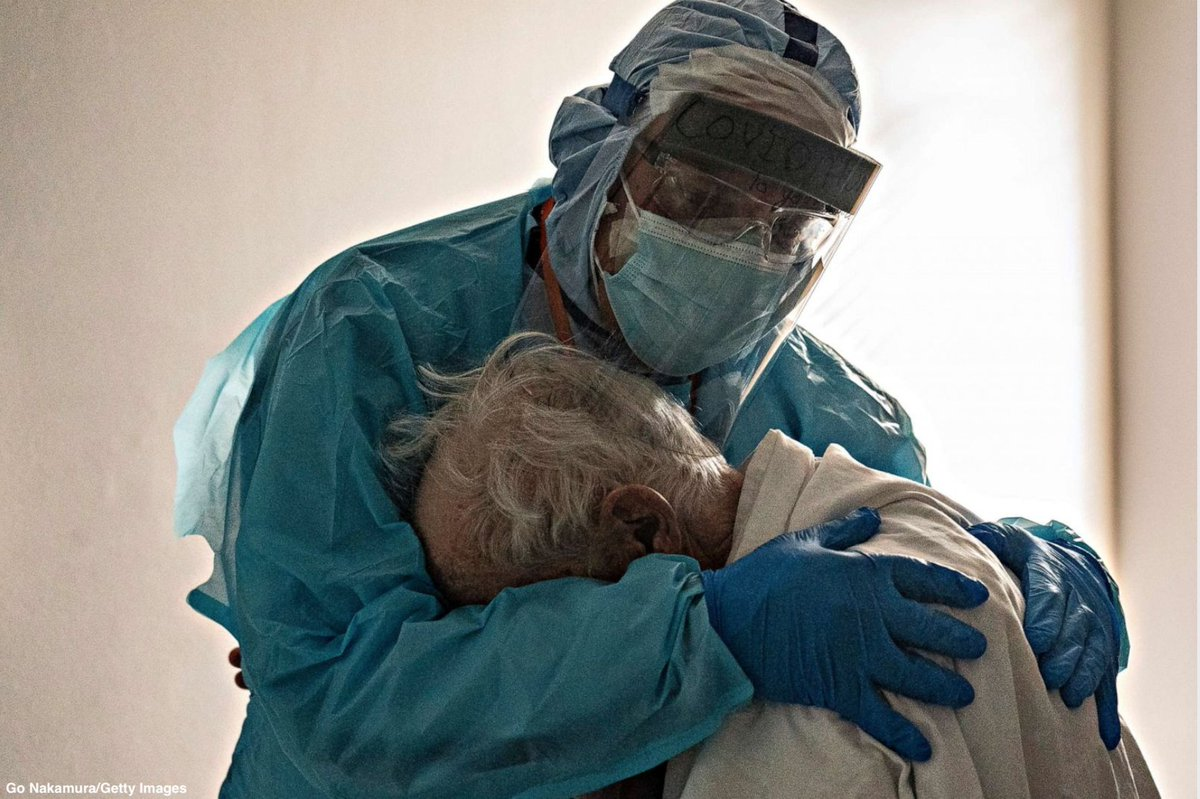 """""""He's in a room where he knows nobody.""""  Dr. Joseph Varon, chief of staff at United Memorial Medical Center in Houston, was on his 252nd consecutive day working during the coronavirus pandemic when he took time to comfort a patient on Thanksgiving Day."""
