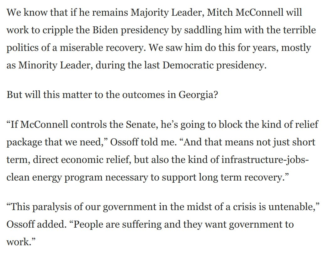 """@ossoff A GOP Senate means no ambitious stimulus, a far less coordinated response to coronavirus' latest rampage, and a death knell for popular policies that will secure our future.  """"We have to make sure voters understand the stakes,"""" @ossoff tells me:  https://t.co/7CZnTfEcfC https://t.co/351uxIcx7b"""