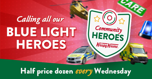 Continuing to celebrate community hero groups, our Krispy Kreme teams voted for Dec & we're thanking those keeping us safe, healthy & happy every day - Blue Light card holders, NHS workers, emergency services, social care sector & armed forces 😊 T&C: https://t.co/akNTZjxaD6 1/2 https://t.co/ViK4uqCHVZ