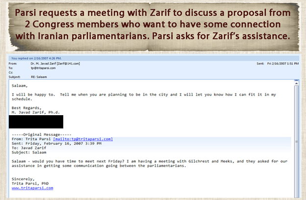 18) February 16, 2007—Parsi sends an email to Zarif requesting a meeting to discuss a proposal from two Members of Congress who seek connection with Iranian MPs. Parsi asks for Zarif's assistance.