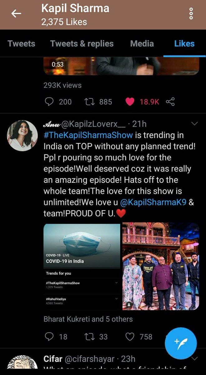Aww @KapilSharmaK9 liked my tweet for the third time!😍😭❤️ I'm so happy!!! Thankyou so much Kapil for this 😍❤️ Iloveyouu you're the best!❤️😍✨🙈😭 #KapilSharma #WeLoveKapilSharma