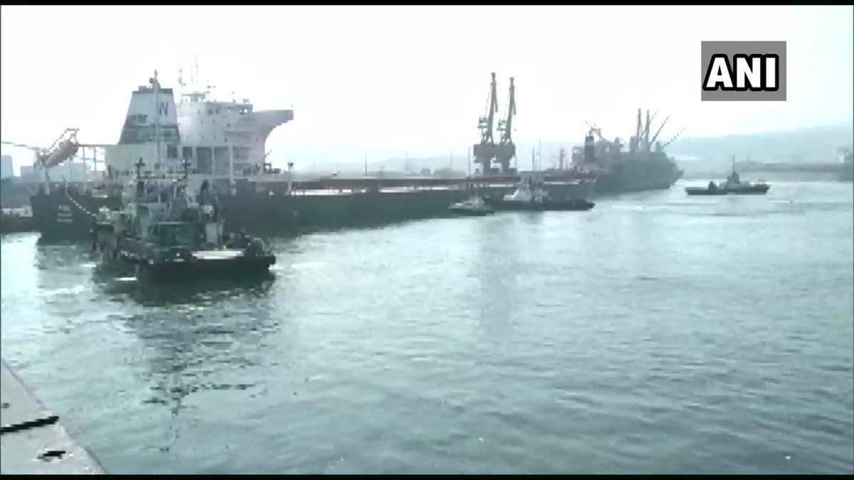 Andhra Pradesh: A large cargo ship 'The Oslo', arrived at Inner Harbour of Visakhapatnam port today. The ship is 229.20 meters long and has a beam of 38 meters.   The Oslo heavy carrier left the port of Richard Bay in South Africa and reached the port of Visakhapatnam. https://t.co/yKMc9FGGNi