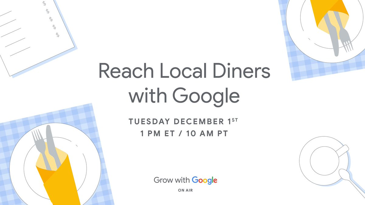 Are you a restaurateur looking to reach local diners and increase sales? You won't want to miss out on what this #OnAir workshop is serving 🍽 #GrowWithGoogle