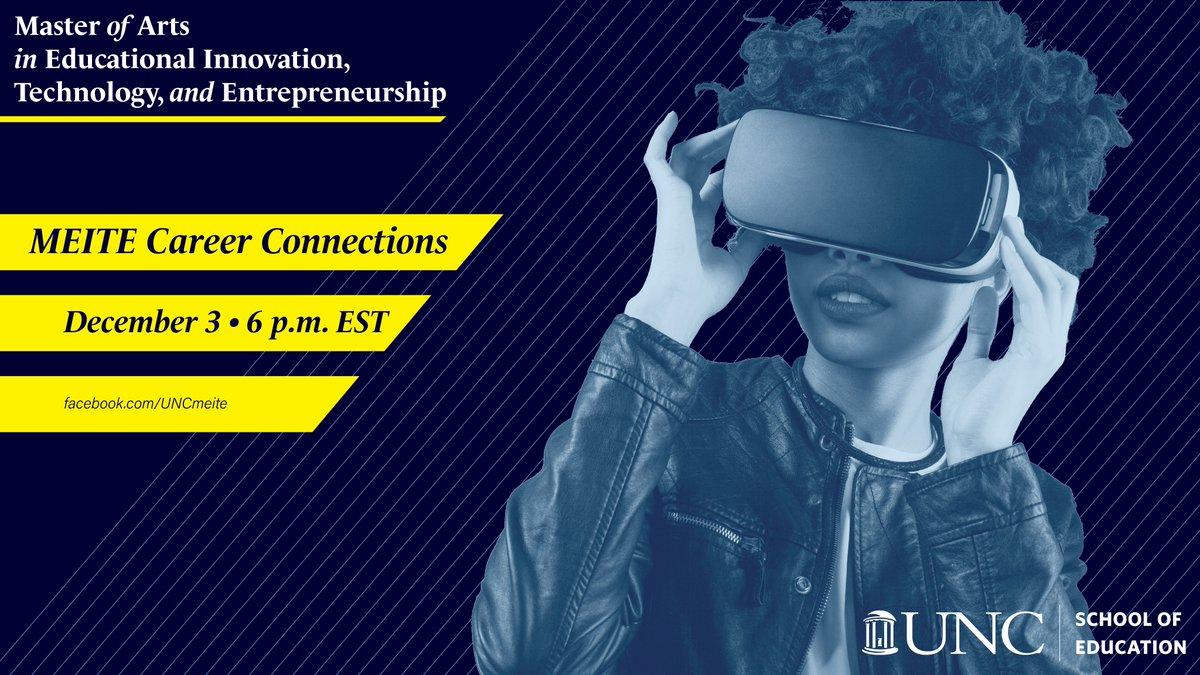 Join @UNC_MEITE students, alumni, and faculty members this Thursday at 6 p.m. EST for a Facebook Live focused on how our program can help you begin a career in educational innovation. Follow MEITE on Facebook ➡️ https://t.co/GmeQvEkdYs and join the discussion Thursday.