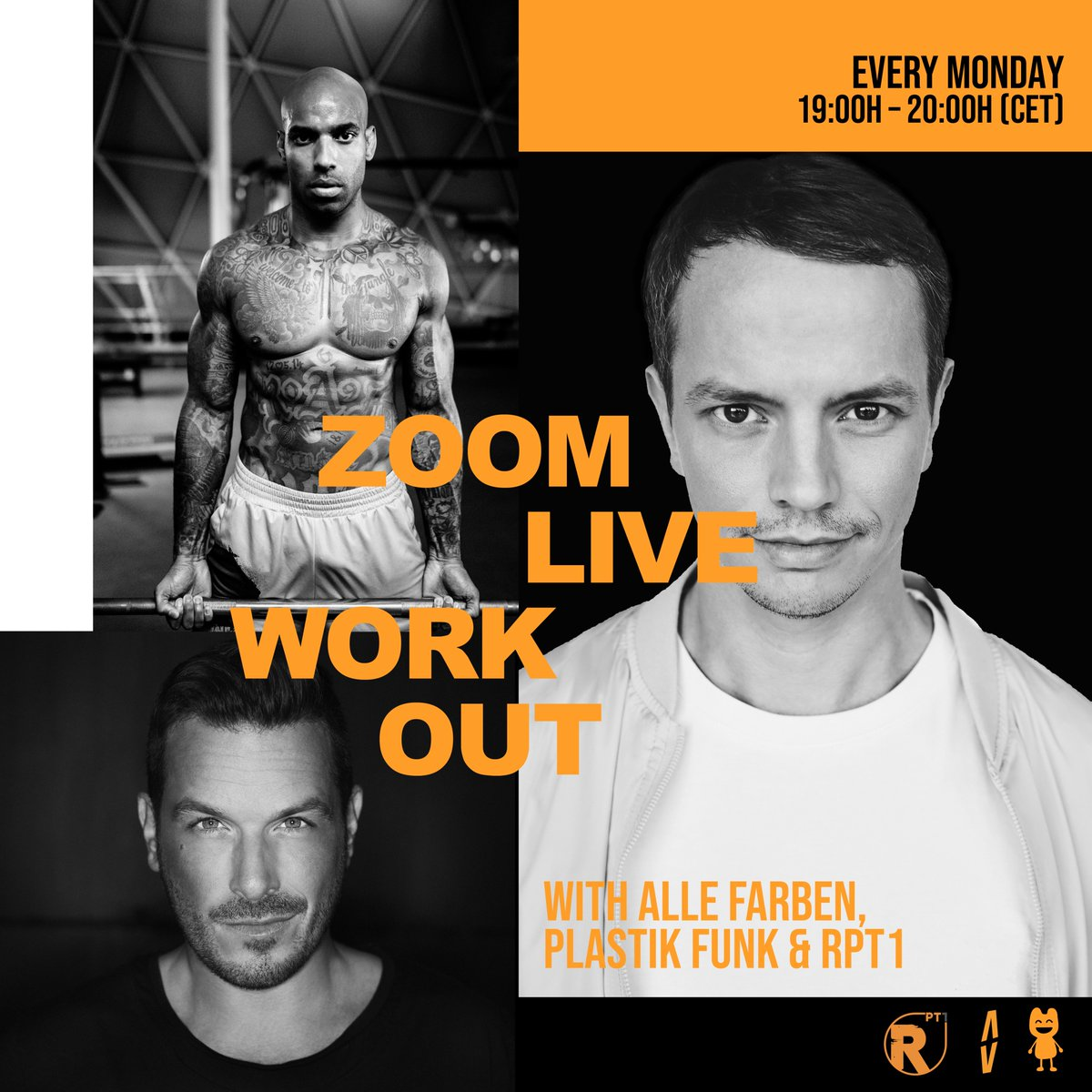 Get your workout in together with myself, Plastik Funk and our personal trainer RPT1 💦 Join our Zoom Workout at 7pm 💪🏻