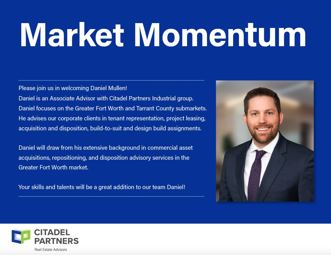 test Twitter Media - Welcome, Daniel Mullen to the Citadel Partners Team!  #CitadelPartners #AssociateAdvisor #DallasCommericalRealEstate https://t.co/RzO6v9YUGC