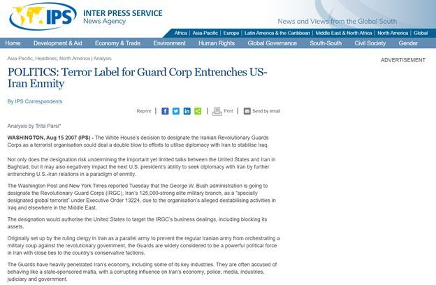 """22) Parsi & NIAC have long opposed any sanctions & designations by the U.S. against Iran's Revolutionary Guards. In 2007, Parsi wrote """"Terror Label for Guard Corp Entrenches US-Iran Enmity,"""" originally on NIAC's website then taken down. ipsnews.net/2007/08/politi…"""