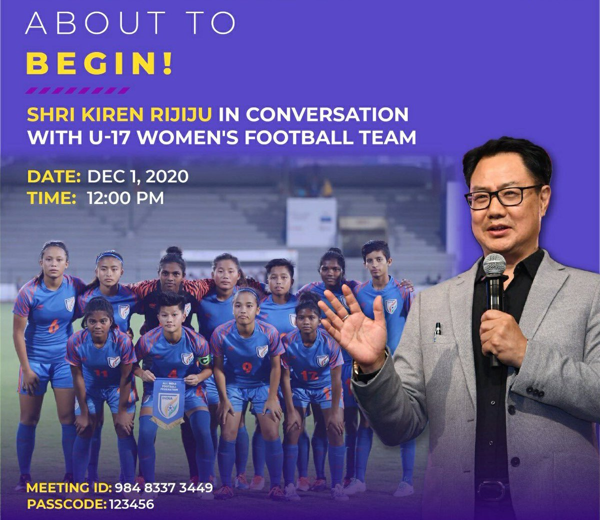 The young girls are very disappointed on the cancelation of FIFA U-17 Women's World Cup in India because it's rare opportunity in life to play for the country in FIFA Cup. But they are India's future in Women's Football. Looking forward for a lively conversation with the girls⚽️