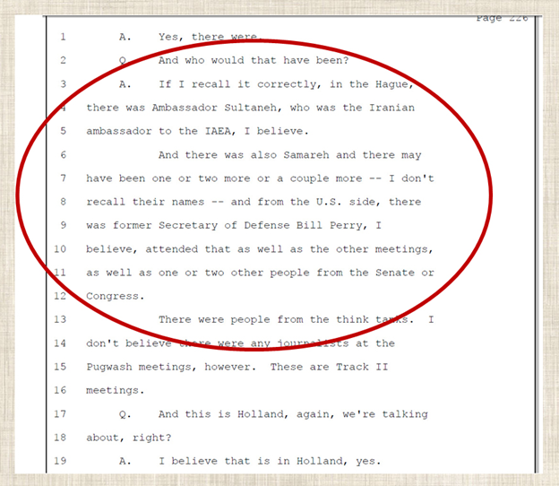 26) Parsi testifying he also met with Ambassador Soltanieh, who was the Iranian ambassador to the International Atomic Energy Agency at the time. August 17, 2008—Emails exchanged between Parsi & Soltanieh.