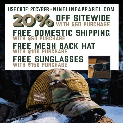Don't Miss Out on #CyberMonday!!! 🇺🇸 Save 20% Off SITEWIDE w/ $50 Purchase! 🇺🇸 FREE Domestic Shipping w/ $50 Purchase! 🇺🇸 FREE Mesh Back Hat w/ $100 Purchase!  AND 🇺🇸 FREE Ballistic Sunglasses w/ $150 Purchase!  Use Code: 20CYBER >