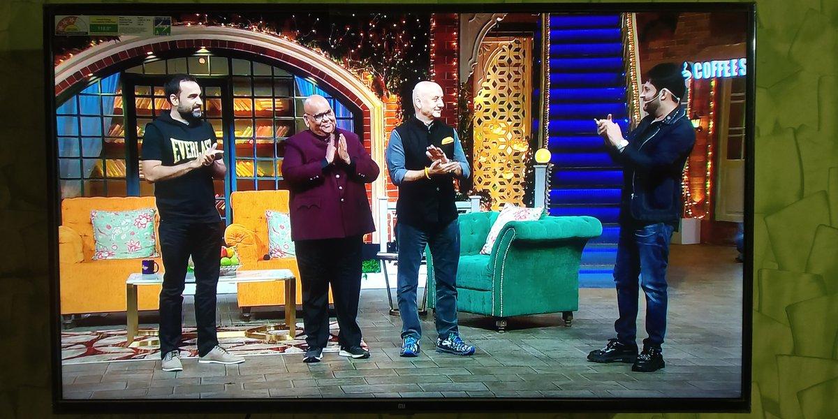 कल ये शो miss हो गया था, but need to admit One of the Great episode I have ever seen! @KapilSharmaK9 जी thank you for bringing all three G.O.A.T. together.   आप सबको तहे दिल से शुक्रिया @AnupamPKher sirji, @satishkaushik2 ji @TripathiiPankaj ji ! #जयहो !!