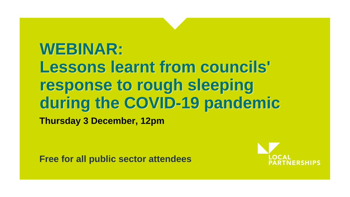 #WEBINAR: Lessons learnt from councils' response to rough sleeping and the pandemic  We're hosting a webinar on Thursday at 12pm with  Strategic Lead for Rough Sleepers at @BhamCityCouncil, Stephen Philpott, and chaired by @CllrDavidRenard  Register: https://t.co/Z50NQXdmBr