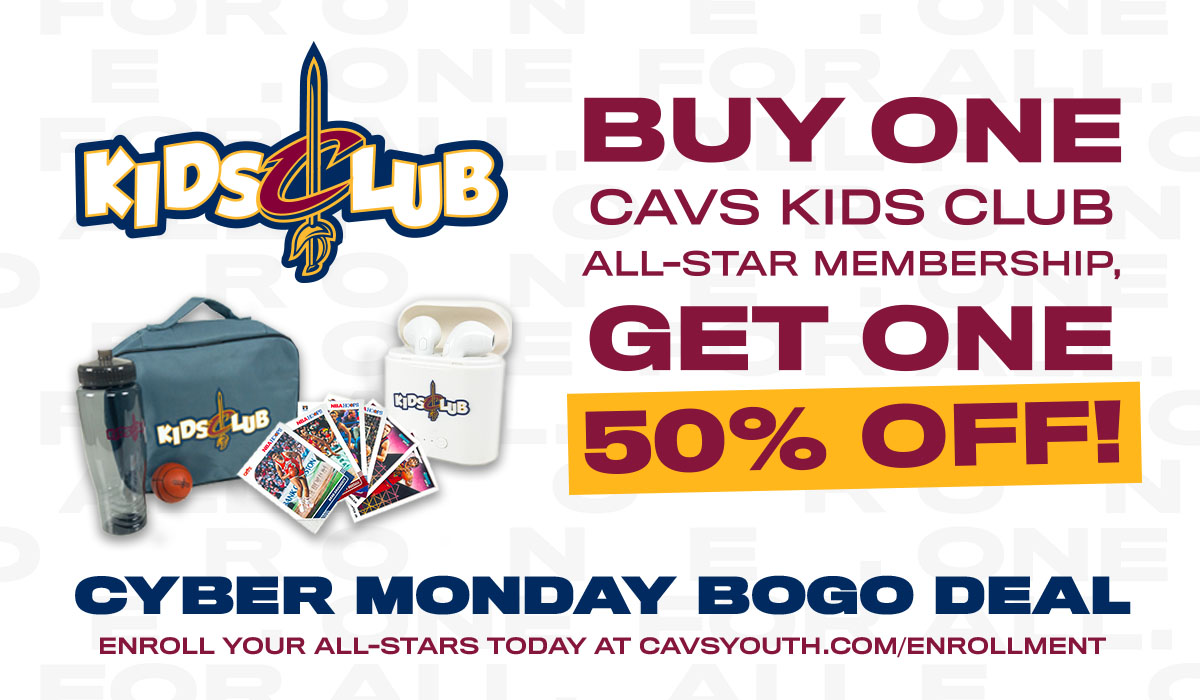 Today is the FINAL day to take advantage of this #CavsKidsClub BOGO deal! A #CavsKids Club membership includes invites to exclusive events, a membership pack with @cavs swag, a ticket to a 2020-2021 home game, and MORE!   Enroll Now: https://t.co/6EYZN8GvIr https://t.co/WUSwlmfpjK