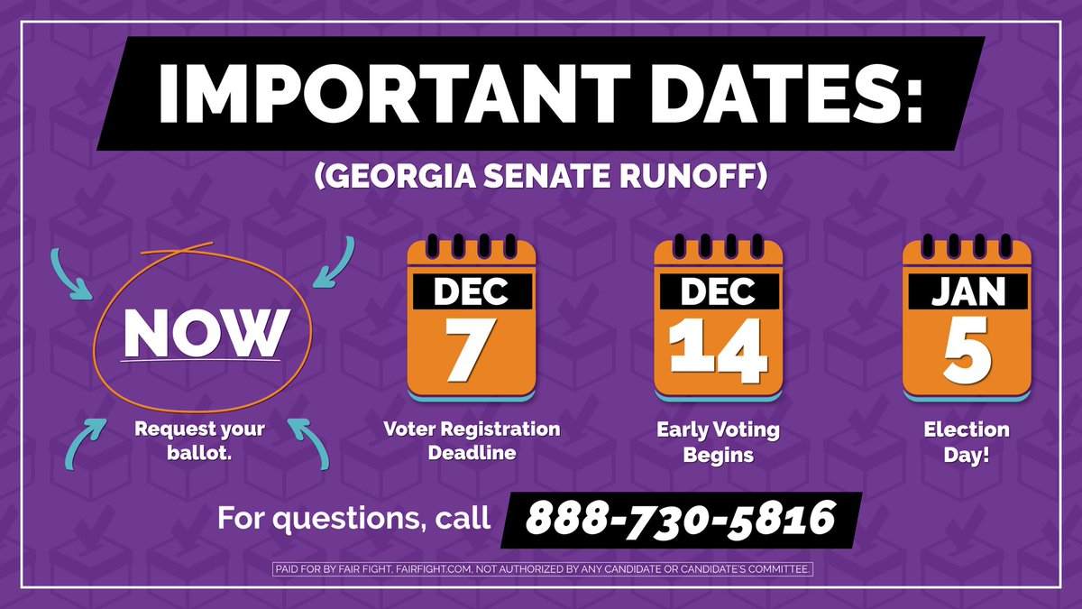 GEORGIA: There is one week(!) left to register to vote & check your registration status for the Jan. 5 runoff elections! Make your voice heard and help elect @ReverendWarnock and @ossoff by registering to vote today:  🗳 #gapol